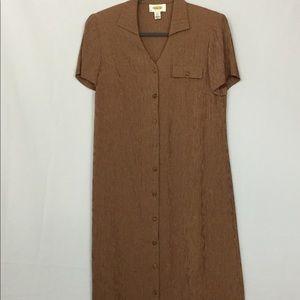 Talbots Modest Long Button Down Red/Tan Dress Sz 6